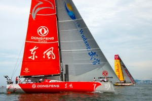 April 18, 2015. Team Vestas Wind In-Port Race Itajai; Dongfeng Race Team.